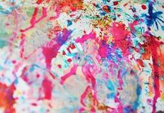 Fond coloré d'aquarelle en argent, rose, violette, couleurs oranges bleues Photos libres de droits
