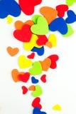 Fond coloré d'autocollants de coeurs Photo stock