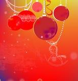 Fond coloré d'hiver avec des boules de Noël Photographie stock