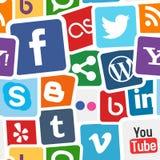 Fond coloré d'icônes sociales de media illustration libre de droits
