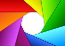 Fond coloré dans une forme d'obturateur de caméra illustration de vecteur