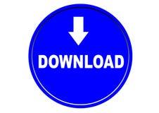 Fond coloré de blanc de bouton de Web d'icône de téléchargement Photographie stock