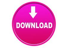 Fond coloré de blanc de bouton de Web d'icône de téléchargement Images stock