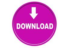 Fond coloré de blanc de bouton de Web d'icône de téléchargement Photos libres de droits