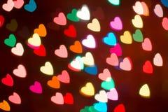 Fond coloré de bokeh de coeur Fond de jour du ` s de Valentine Image libre de droits