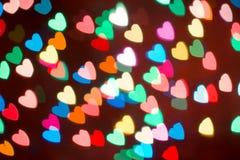 Fond coloré de bokeh de coeur Fond de jour du ` s de Valentine Photographie stock libre de droits