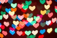 Fond coloré de bokeh de coeur Fond de jour du ` s de Valentine Images libres de droits