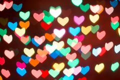 Fond coloré de bokeh de coeur Fond de jour du ` s de Valentine Photographie stock