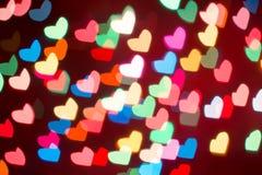 Fond coloré de bokeh de coeur Fond de jour du ` s de Valentine Photos libres de droits