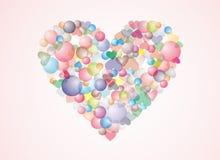 Fond coloré de coeur de bulle Photos stock