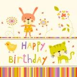 Fond coloré de fête de naissance avec des animaux et des fleurs Photos libres de droits