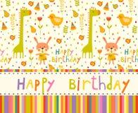 Fond coloré de fête de naissance avec des animaux et des fleurs Photographie stock