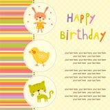 Fond coloré de fête de naissance avec des animaux et des fleurs Images libres de droits