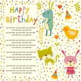 Fond coloré de fête de naissance avec des animaux et des fleurs Image stock