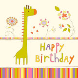 Fond coloré de fête de naissance avec la girafe et les fleurs Photos stock