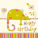 Fond coloré de fête de naissance avec le chat et les fleurs Photo libre de droits