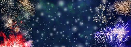 Fond coloré de feux d'artifice avec la neige en baisse illustration stock