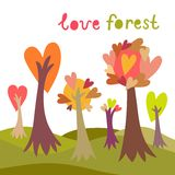 Fond coloré de forêt d'amour illustration stock