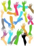 Fond coloré de mains Photos libres de droits