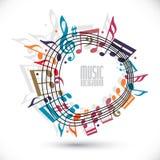 Fond coloré de musique avec la clef et les notes, feuille de musique dans le RO illustration stock