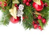 Fond coloré de Noël avec la brindille impeccable verte images libres de droits