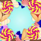 Fond coloré de purim juif de vacances avec la sucrerie et le Hamantas illustration de vecteur