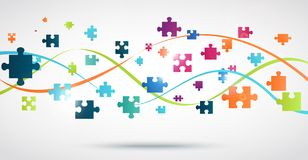 Fond coloré de puzzle avec des lumières Image stock
