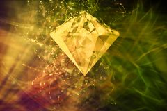 Fond coloré de résumé et rougeoyant artistique de Diamond In An Abstract Colorful illustration stock