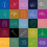 Fond coloré de tuiles linéaires d'icônes de service de voiture Photographie stock libre de droits
