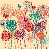 Fond coloré de vecteur d'été avec des fleurs et des papillons Image libre de droits