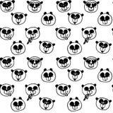 Fond coloré de visage tiré de panda Papier peint sans couture de bande dessinée Texture sans couture puérile gribouillée Image stock