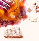 Fond coloré de voyage avec le ballon à air, silhouette de bateau et Photo libre de droits