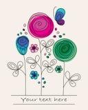 Fond coloré drôle avec les fleurs abstraites Photo stock