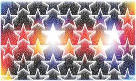 Fond coloré et ombragé ayant la chute de neige et les étoiles rougeoyantes pour la conception générée par ordinateur d'illustrati images stock