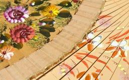 Fond coloré fait de deux ventilateurs Images libres de droits