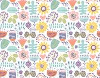 Fond coloré, modèle floral et sans couture avec des fleurs et feuilles Photos stock