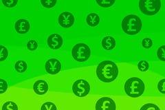 Fond coloré sans couture avec des symboles monétaire Vecteur illustration stock
