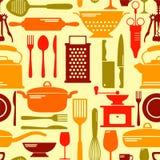 Fond coloré sans couture de vecteur de cuisine Photos libres de droits