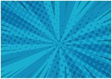 Fond comique rayé de bleu abstrait rétro illustration libre de droits