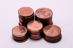 Fond complètement d'euro cents, pièce de monnaie en cuivre Photographie stock