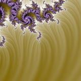 Fond complexe pourpre de fractale d'or organique sauvage Photo libre de droits
