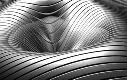 Fond concave argenté abstrait en aluminium Photographie stock