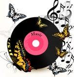 Fond abstrait de musique avec le disque vinyle, les notes et le butterfli Images libres de droits