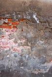 Fond concret criqué de mur de briques de cru Photos libres de droits