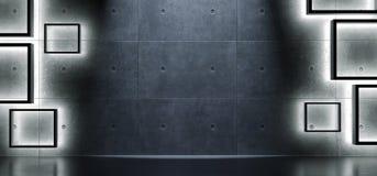 Fond concret intérieur avec les lumières molles de cubes Photo libre de droits
