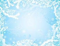 Fond congelé bleu de l'hiver avec des flocons de neige illustration libre de droits