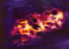 Fond cosmique d'aquarelle Photo libre de droits