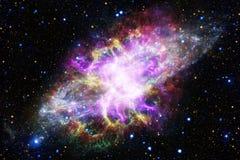 Fond cosmique de galaxie avec des nébuleuses, des chimères et des étoiles lumineuses illustration libre de droits