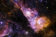 Fond cosmique de galaxie avec des nébuleuses, des chimères et des étoiles lumineuses photos stock