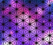 Fond cosmique en verre souillé avec des fleurs Photo stock